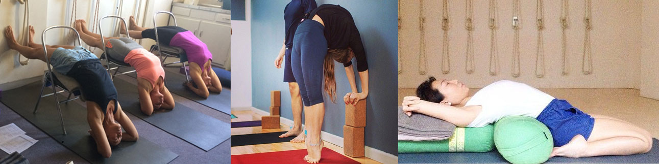 Various Iyengar yoga backbend preparation poses